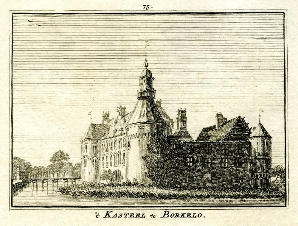 Kasteel Borculo in Borculo. Tekening Jan de Beijer, gravure Hendrik Spilman (Uit: Het Verheerlykt Nederland, Isaac Tirion, 1745/1774)